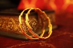 Indian Made Wedding gold bracelets. On White Background Stock Image