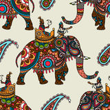 Indian maharadjah on elephant seamless background Stock Images