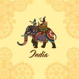 Indian maharaja on elephant mandala ornament Royalty Free Stock Photos