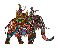 Indian maharajah on the elephant colored Royalty Free Stock Photo
