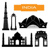 Indian main attraction silhouettes Royalty Free Stock Photos