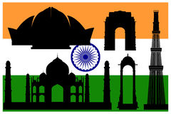 Indian main attractions and flag Stock Images