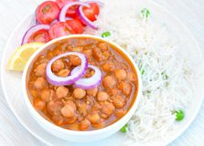 Chole chawal-Punjabi channa masala rice meal Royalty Free Stock Image