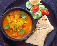 Indian main course- lauki and chapati Royalty Free Stock Images