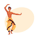 Indian male dancer in traditional harem pants, Bollywood performer Royalty Free Stock Photo