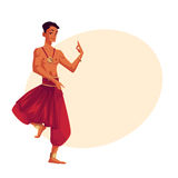 Indian male dancer in traditional harem pants, Bollywood performer Royalty Free Stock Photography