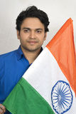 Indian male model with indian flag Royalty Free Stock Photo