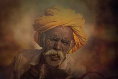 Old Rajasthani man against the background of his camels Royalty Free Stock Photography
