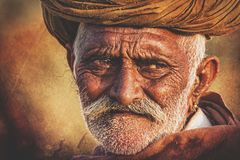 Old Rajasthani man against the background of his camels. Indian man attended the annual Pushkar Camel Mela Stock Images
