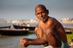Indian man bathing at the Ganges River Stock Images