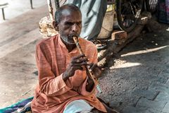 Indian man beggar playing a musical instrument royalty free stock photo