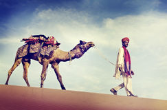 Indian Man Camel Desert Travel Concept Royalty Free Stock Photography