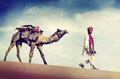 Indian Man Camel Desert Travel Concept Stock Photo