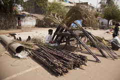 Indian man with cane sugar Stock Photography