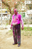 Indian man celebrating Holi festival Royalty Free Stock Photos