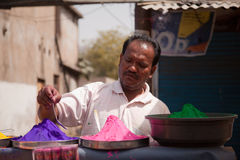 Indian  man with  Color full colors of holi Stock Photos