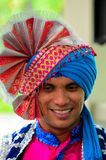 Indian man in colorful turban headdress Stock Images
