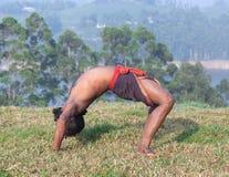 Indian man doing yoga exercises on green grass Royalty Free Stock Photos