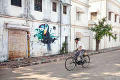 Indian man driving the bicycle in Puducherry Stock Image