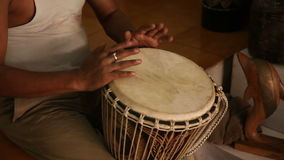 Indian man drumming sound included stock footage