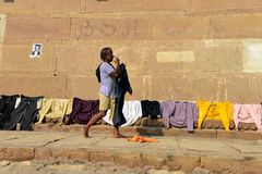 Indian Man Drying Clothes Royalty Free Stock Photos