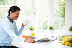 Indian Man Enjoying Breakfast At Home Royalty Free Stock Photos