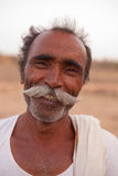 Indian man with handlebar moustache Royalty Free Stock Images