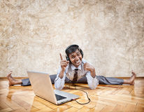 Indian man listening to the music Stock Images