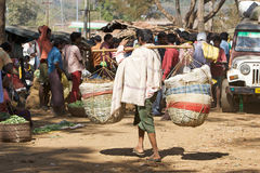 Indian man at the market in the rural area Stock Photo