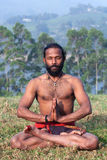 Indian man meditating on green grass Royalty Free Stock Photo