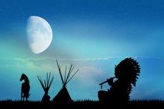 Indian man in the moonlight Stock Photos