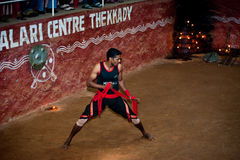 Indian man performing Kalaripayattu, traditional ancient martial art Stock Photography