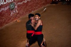 Indian man performing Kalaripayattu, traditional ancient martial art Royalty Free Stock Image