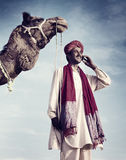 Indian Man Phone Camel Communication Technology Concept Royalty Free Stock Images