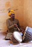 Indian man playing drums, Mehrangarh Fort, Jodhpur, India Royalty Free Stock Photography