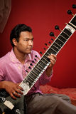Indian Man Playing Sitar Royalty Free Stock Photography