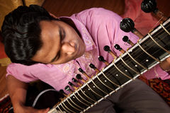 Indian Man Plays A Sitar Stock Photos