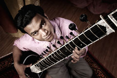 Indian Man Plays A Sitar Stock Images
