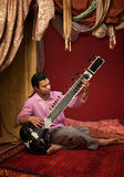 Indian Man Plays a Sitar Royalty Free Stock Photos