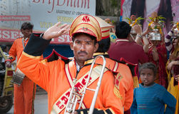 Indian man on Ritual procession on the street in Vrindavan Royalty Free Stock Photos