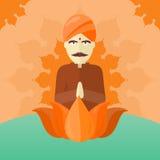 Indian Man  on Round Ornate Mandala. Stock Photos