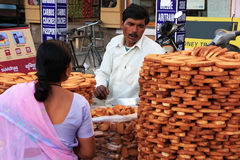 Indian man selling bread, Sadar Market, Jodhpur, India Royalty Free Stock Photography