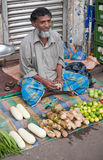 Indian man sells vegetable. Indian man sitting legged on a rug is selling some vegetables Stock Photography