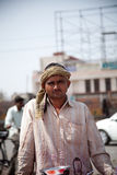 Indian   man on shopcart Stock Photos