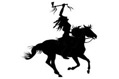Indian man sitting on a horse. Silhouette of indian man sitting on a horse stock illustration