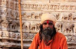 Indian man sitting at Jagdish temple, Udaipur, India Royalty Free Stock Image