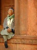 Indian man sitting at Jama Masjid, Delhi Stock Photography
