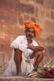 Indian man sitting at Ranthambore Fort, India Royalty Free Stock Images