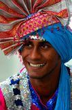 Indian man smiles wearing colorful turban Royalty Free Stock Photography