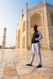 Indian Man Standing Marble Base Taj Mahal Royalty Free Stock Image
